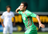 05 July 2009: Pablo Barrera of Mexico celebrates after scoring a goal during the second half of the game against Nicaragua at Oakland-Alameda County Coliseum in Oakland, California.    Mexico defeated Nicaragua, 2-0.
