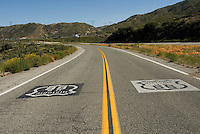 Historic U.S. Route 66, Sign, Painted on Roadway, Black Background, White Shield, White Background, Black Shield, Black Lettering,