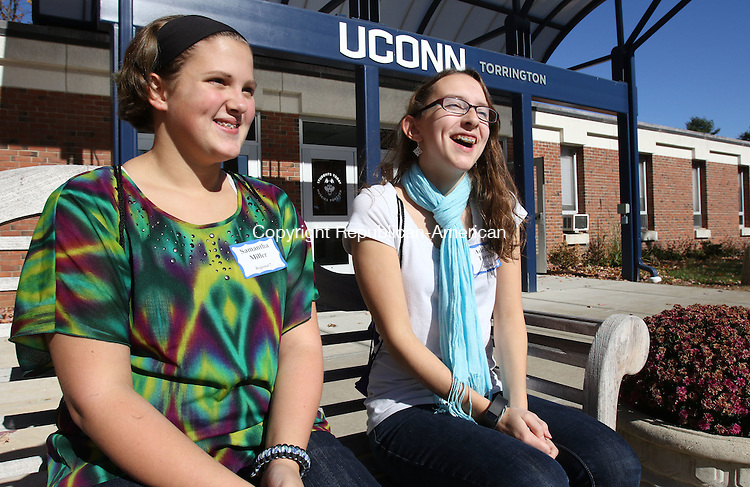 TORRINGTON CT. 23 October 2015-102315SV03-From left, Samantha Miller, 13, and Adrianna Torrant, 13, both of Norfolk talk about The women's leadership initiative second annual Girls Summit at UConn Torrington Friday. The event was sponsored by the United Way of Northwest Connecticut. The event was for 8th grade girls that focusing on self esteem, leadership, healthy relationships, good nutrition and fitness. <br /> Steven Valenti Republican-American