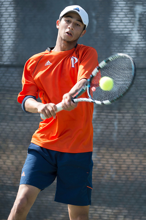 April 27, 2013; San Diego, CA, USA; Pepperdine Waves player David Sofaer during the WCC Tennis Championships at Barnes Tennis Center.