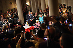 San Francisco mayor Gavin Newsom introduces Del Martin, 87, center, and Phyliss Lyon 83, who are longtime lesbian activists, during their wedding reception at City Hall, in San Francisco, CA, on Monday, June 16, 2008. Their ceremony, officiated by Newsom, was the first of the same-sex marriages. Partners for more than 50 years, Martin and Lyon, also had celebrated their first legal union.