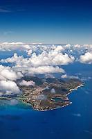 Aerial view of Koko Head, Hanauma Bay and Koko Crater, east O'ahu
