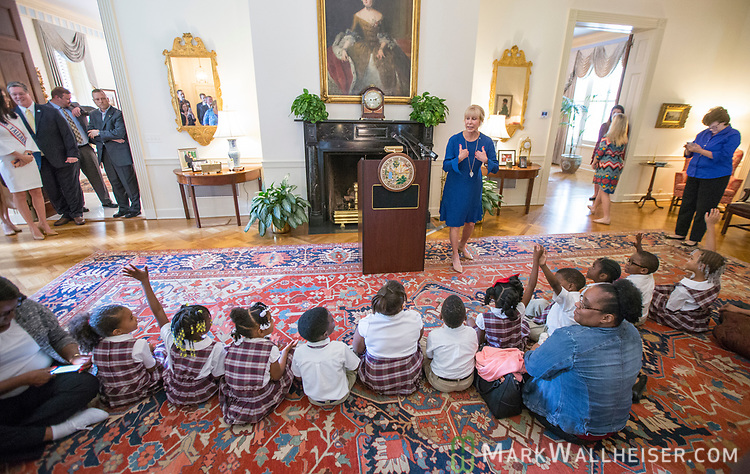 """First Lady Ann Scott speaks during a press conference to launch Prevent Child Abuse with Florida's annual """"Pinwheels for Prevention"""" campaign at the Florida Governor's Mansion."""