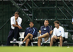North Carolina's coaching staff (from left) head coach Elmar Bolowich, assistant coach Carlos Somoano, assistant coach Jeff Negalha, and Dave Buehler on Tuesday October 4th, 2005 at Fetzer Field on the campus of the University of North Carolina Chapel Hill in Chapel Hill, North Carolina. The UNC Tarheels defeated the Elon University Phoenix 2-1 after overtime in an NCAA Division I Men's Soccer game.