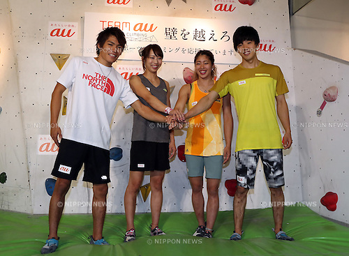 """August 9, 2016, Tokyo, Japan - Japan's  top sport-climbing athletes (L-R) Tomoa Narasaki, Akiyo Noguchi, Miho Nonaka and Kokoro Fujii smile as they form the """"Team au"""", supported by KDDI at a presentation in Tokyo on Tuesday, August 9, 2016. IOC decided recently that sport-climbing would be one of the eight sports for the Tokyo 2020 Olympic Games additional events.    (Photo by Yoshio Tsunoda/AFLO) LWX -ytd-"""
