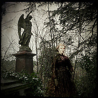 Angel memorial in graveyard