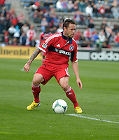 Chicago midfielder Daniel Paladini (11) maneuvers near the New York goal.  The Chicago Fire defeated the New York Red Bulls 3-1 at Toyota Park in Bridgeview, IL on April 7, 2013.