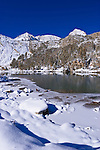 Fresh snow on Mount Abbot and Gem Lake after a winter storm, John Muir Wilderness, Sierra Nevada Mountains, California