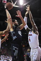 Hoyas' Bradley Hayes shoots a one-handed shot. Maryland defeated Georgetown 75-71 during a game at Xfinity Center in College Park, MD on Wednesday, November 17, 2015.  Alan P. Santos/DC Sports Box