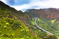 """An aerial view at dawn of the Ko'olau mountain range and H-3 Freeway from the Haiku Stairs (""""Stairway to Heaven"""") hiking trail in Kaneohe, O'ahu"""