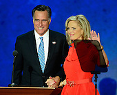 GOP nominee Mitt Romney joins his wife, Ann, after she made remarks at the 2012 Republican National Convention in Tampa Bay, Florida on Tuesday, August 28, 2012.  .Credit: Ron Sachs / CNP.(RESTRICTION: NO New York or New Jersey Newspapers or newspapers within a 75 mile radius of New York City)