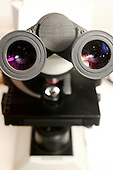 The viewing lens of a microscope. Royalty Free