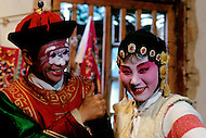 April 15th, 1989, Poyang, Jiangxi Province, China, members of a traveling opera troupe. Roles in Chinese opera are highly codified. All performers take care of their own make up, clothes and props.