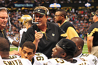 "File-Greg Williams, Defensive Coordiantor for the New Orleans Saintshas been suspended indefiently from the NFL  because of his ""bounty system"" he had in place while coaching for the Saints during ht e2009,2010 & 2011 NFL seasons. Coach Sean Payton was suspended for one year and General manager Micky Lookis was suspended for 8 games for thier roles in the ""Bounty scandal"". File Photo of Defensive coach Greg Willams letting his defensive line know what to do during the Saints pre season game against the San Diego Chargers Friday Aug 27,2010. The San Diego charges cut Drew Brees a few years ago, allowing him to be picked uop by the Saints as a free agent. The Saints won 36-21 at half time.Photo© Suzi Altman"