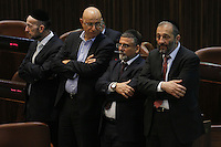 MK`s (R to L) Arie deri, Yitzhak Vaknin,  Avishai Braverman, Uri Makleb,  during a vote on the so-called governability law. The governance law would raise the electoral threshold from 2 percent to 4 percent. Photo by Oren Nahshon