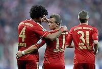 FUSSBALL  DFB-POKAL  HALBFINALE  SAISON 2012/2013    FC Bayern Muenchen - VfL Wolfsburg            16.04.2013 Jubel: Dante (li) und Xherdan Shaqiri (re, beide FC Bayern Muenchen)