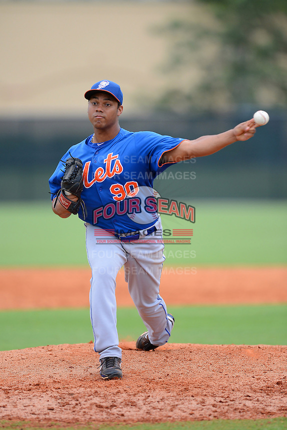 GCL Mets pitcher Waldo Rodriguez (90) during the first game of a double header against the GCL Cardinals on July 17, 2013 at Roger Dean Complex in Jupiter, Florida.  GCL Cardinals defeated the GCL Mets 6-5 in twelve innings.  (Mike Janes/Four Seam Images)