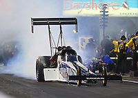 Apr 29, 2016; Baytown, TX, USA; NHRA top fuel driver Terry Haddock during qualifying for the Spring Nationals at Royal Purple Raceway. Mandatory Credit: Mark J. Rebilas-USA TODAY Sports