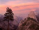 Half Dome and Tenaya Canyon at sunset from Washburn Point,  Yosemite National Park, California
