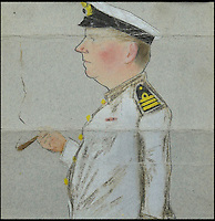 BNPS.co.uk (01202 558833)<br /> Pic: DixNoonanWebb/BNPS<br /> <br /> A drawing of John Henry Collin.<br /> <br /> The medals of a hero captain who dived into shark infested waters during a monsoon to rescue a seaman who had been swept overboard have emerged for auction.<br /> <br /> Captain John Henry Collin of the Merchant Navy was fully aware there were several sharks circling the vessel when, without hesitating, he jumped into the Red Sea.<br /> <br /> Showing a complete disregard for his own well-being, he swam after a distressed seaman who was stranded in the sea and hauled him back on to the boat. <br /> <br /> The seaman survived and Capt Collin, in recognition of his bravery, was awarded the Stanhope Gold Medal for 1896 which was given for the most heroic rescue.