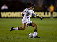 Christen Press (23) of Stanford strikes the ball during the second game of the NCAA Women's College Cup at WakeMed Soccer Park in Cary, NC.  Stanford defeated Boston College, 2-0.