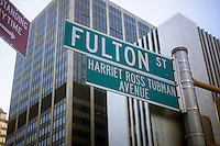 A ceremonial street sign co-names fulton Street in Downtown Brooklyn in New York Harriet Ross Tubman Avenue, seen on Saturday, January 26, 2013. Tubman was an abolitionist responsible for rescuing slaves via the Underground Railroad. (© Richard B. Levine)
