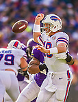 19 October 2014: Buffalo Bills quarterback Kyle Orton fumbles in the backfield under pressure during the third quarter against the Minnesota Vikings at Ralph Wilson Stadium in Orchard Park, NY. The Bills defeated the Vikings 17-16 in a dramatic, last minute, comeback touchdown drive. Mandatory Credit: Ed Wolfstein Photo *** RAW (NEF) Image File Available ***