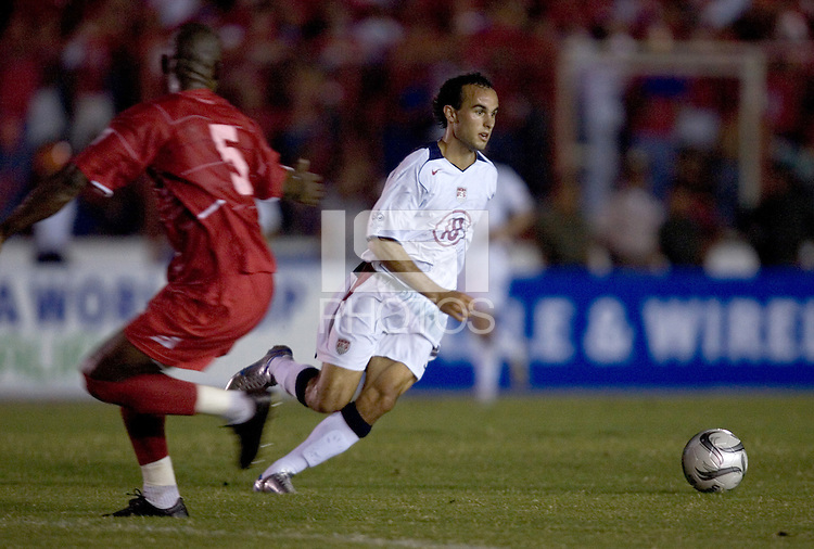 USA's Landon Donovan dribbles down the field against Panama in the first half in Panama City, Panama, Wednesday, June 8, 2005. USA won, 3-0.