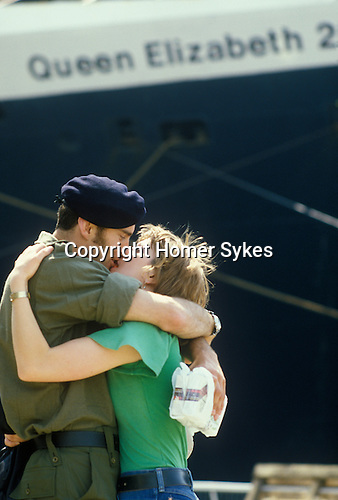 Falklands war soldiers leave Southampton on the QE2. saying goodbye.  Southampton Dock Wednesday May 12 1982.