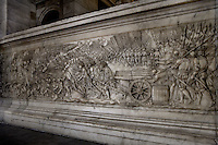 Battle of Marignano, 13 September 1515 between Francis I, 1494-1547 King of France and Swiss army, relief, Funerary Monument of Francois I (1494 - 1547) and Claude of France (1499 - 1524), 1548 - 1570, marble, by Pierre Bontemps, Abbey church of Saint Denis, Seine Saint Denis, France. Picture by Manuel Cohen