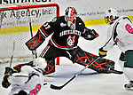 28 January 2012: Northeastern University Huskies' goaltender Chris Rawlings, a Junior from North Delta, British Columbia, makes a second period save against the University of Vermont Catamounts at Gutterson Fieldhouse in Burlington, Vermont. The Huskies defeated the Catamounts 4-2 in the second game of their 2-game Hockey East weekend series. Mandatory Credit: Ed Wolfstein Photo