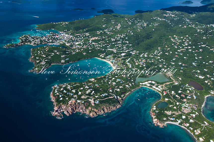 Aerial view of St. John showing Great Cruz Bay<br />