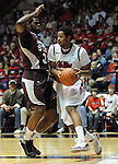 Mississippi's Jelan Kendrick (45) works against Mississippi State's Wendell Lewis (30) at the C.M. &quot;Tad&quot; Smith Coliseum in Oxford, Miss. on Wednesday, January 18, 2012. (AP Photo/Oxford Eagle, Bruce Newman).