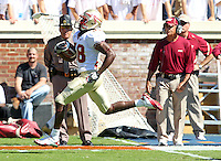 Oct 2, 2010; Charlottesville, VA, USA; Florida State Seminoles running back Jermaine Thomas (38) runs  for a touchdown during the game against the Virginia Cavaliers at Scott Stadium. Florida State won 34-14.  Mandatory Credit: Andrew Shurtleff-