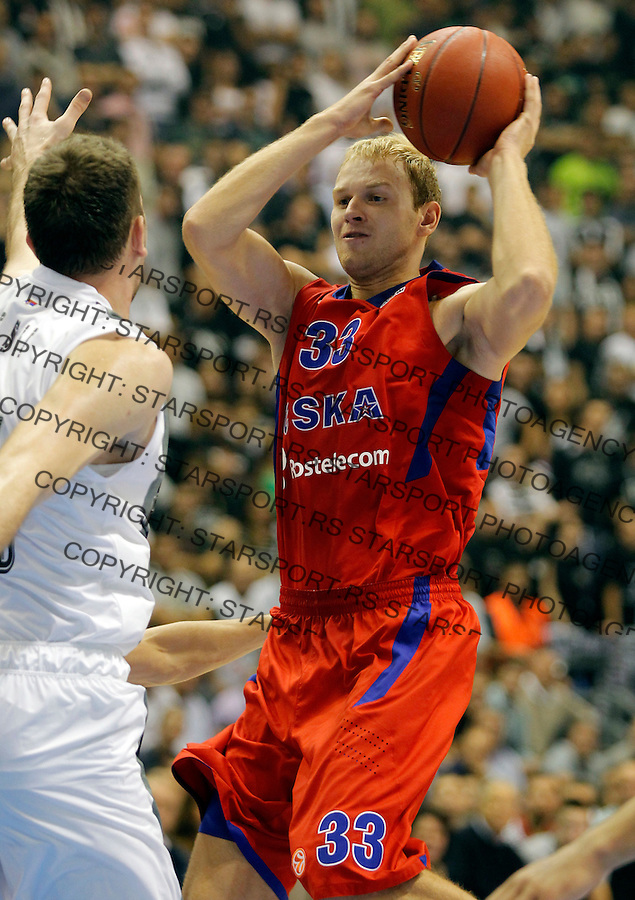 BELGRADE SERBIA 18/10/2012/ Anton Ponkrashov Euroleague basketball game Partizan MTS -  CSKA Moscow (credit & photo: Pedja Milosavljevic / +381 64 1260 959 / thepedja@gmail.com)