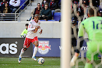 Roy Miller (7) of the New York Red Bulls during the 1st leg of the Major League Soccer (MLS) Western Conference Semifinals against the Los Angeles Galaxy at Red Bull Arena in Harrison, NJ, on October 30, 2011.