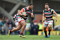 Ellis Genge of Leicester Tigers in possession. Aviva Premiership match, between Leicester Tigers and Sale Sharks on April 29, 2017 at Welford Road in Leicester, England. Photo by: Patrick Khachfe / JMP