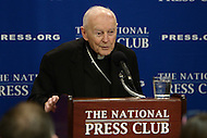 Washington, DC - May 10, 2016: Cardinal Theodore McCarrick, former archbishop of Washington, discusses the Marrakech Declaration regarding the rights of religious minorities in Muslim countries at the National Press Club in the District of Columbia, May 10, 2016.  (Photo by Don Baxter/Media Images International)