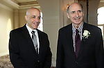 PROSPECT CT. 02 February 2017-020317SV01-From left, Mike Petro Jr., operations manager, and his dad Mike Petro Sr., the company's co-founder, of Petron Automation in Watertown were on hand to receive the Manufacturer of the Year Award from the Waterbury Regional Chamber's Small Business Council at the 20th annual Harold Webster Smith Awards in Prospect Friday.<br /> Steven Valenti Republican-American