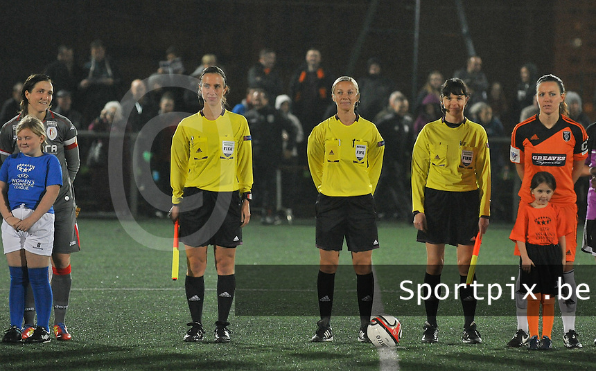 20131017 - GLASGOW , SCOTLAND :  Polish referee team pictured with Monika Mularczyk (middle) , Anna Dabrowska  and Kinga Seniuk Mikulska during the female soccer match between GLASGOW City Ladies FC and STANDARD Femina de Liege , in the 1/16 final ( round of 32 ) second leg in the UEFA Women's Champions League 2013 in Petershill Park in Glasgow. First leg ended in a 2-2 draw . Thursday 17 October 2013. PHOTO DAVID CATRY