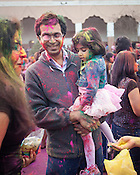 Holi celebration at the Hindu Society of North Carolina, Morrisville, March 30, 2013. Along with a ceremonial bonfire, this Hindu festival officially ushers in spring, the season of abundant colors.