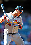 29 August 2010: St. Louis Cardinals outfielder Matt Holliday gets brushed during game action against the Washington Nationals at Nationals Park in Washington, DC. The Nationals defeated the Cards 4-2 to take the final game of their 4-game series. Mandatory Credit: Ed Wolfstein Photo
