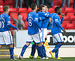St Johnstone v Kilmarnock.....09.11.13     SPFL<br /> Stevie May celebrates his goal<br /> Picture by Graeme Hart.<br /> Copyright Perthshire Picture Agency<br /> Tel: 01738 623350  Mobile: 07990 594431