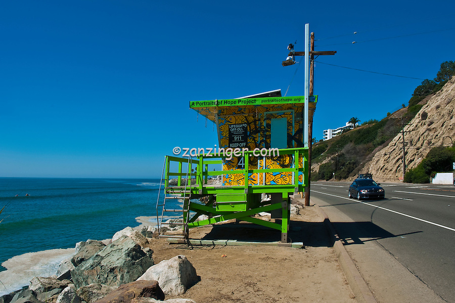 Pacific Palisades, CA, Lifeguard Station #4, Pacific Coast Highway, Summer of Color, exhibit, Lifeguard, Towers, Portraits of Hope, Geometric, shapes,