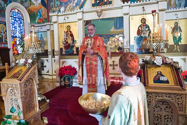 Fr. Steve Tumbas celebrates Christmas Liturgy service, at St. Sava Serbian Orthodox Church in Jackson, California, on January 7.