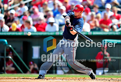 10 March 2010: Washington Nationals' infielder Chris Duncan in action during a Spring Training game against the St. Louis Cardinals at Roger Dean Stadium in Jupiter, Florida. The Cardinals defeated the Nationals 6-4 in Grapefruit League action. Mandatory Credit: Ed Wolfstein Photo
