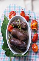 Europe/France/DOM/Antilles/Petites Antilles/Guadeloupe/Pointe-à-Pitre : Chez Monique Vulgaire de l'association des cuisinières - Le boudin antillais