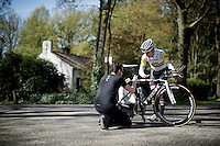 Jack Bobridge (AUS/Trek-Segafredo) adjusting his saddle hight slightly at the pre-Giro TT-training ride with Team Trek-Segafredo in Gelderland (The Netherlands)<br /> <br /> 99th Giro d'Italia 2016