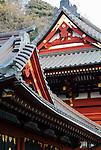 Photo shows a detail of the roof over the main building at Tsurugaoka Hachimangi shrine in Kamakura, Japan on 24 Jan. 2012. Photographer: Robert Gilhooly