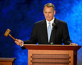 Speaker of the United States House of Representatives John Boehner (Republican of Ohio) wields the gavel at the 2012 Republican National Convention in Tampa Bay, Florida on Tuesday, August 28, 2012.  .Credit: Ron Sachs / CNP.(RESTRICTION: NO New York or New Jersey Newspapers or newspapers within a 75 mile radius of New York City)